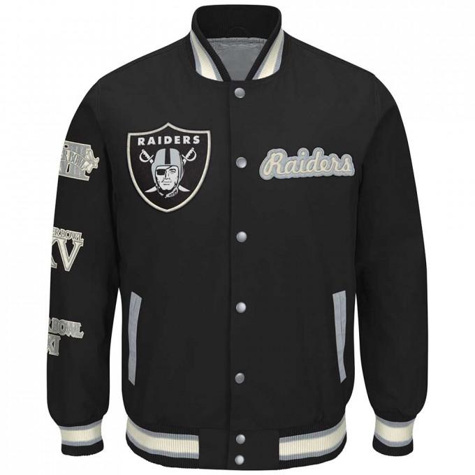 Raider Leather Motorcycle Jacket | Raiders Varsity Jacket | Los Angeles Raiders Jacket