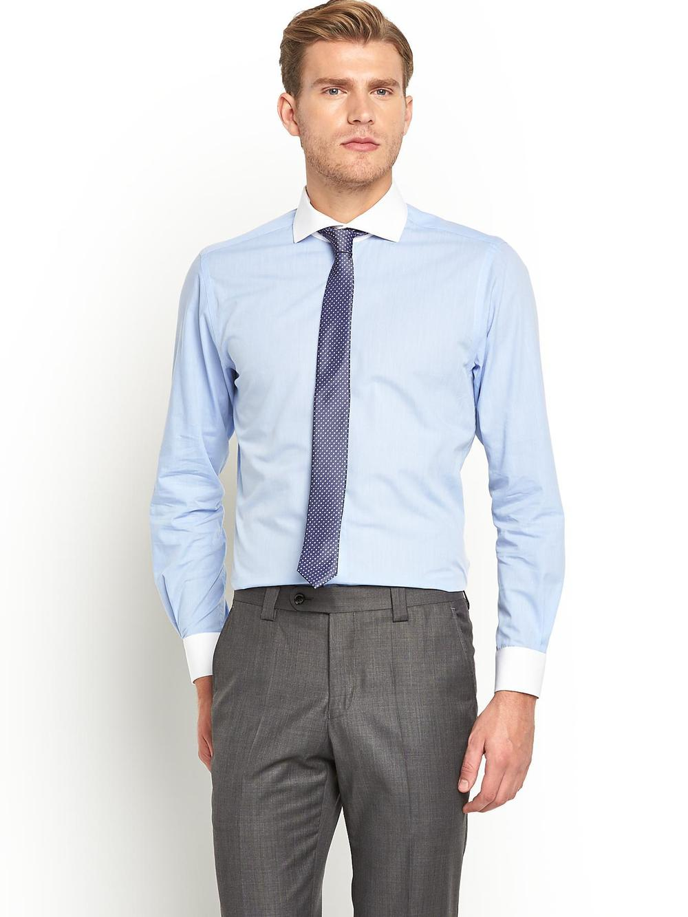 Rounded Collar Dress Shirts | Cutaway Collar | Stiff Collar Dress Shirt