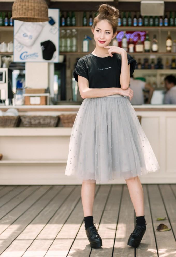 Silver Tulle Skirt | Tulle Midi Skirt | Mid Length Tulle Skirt
