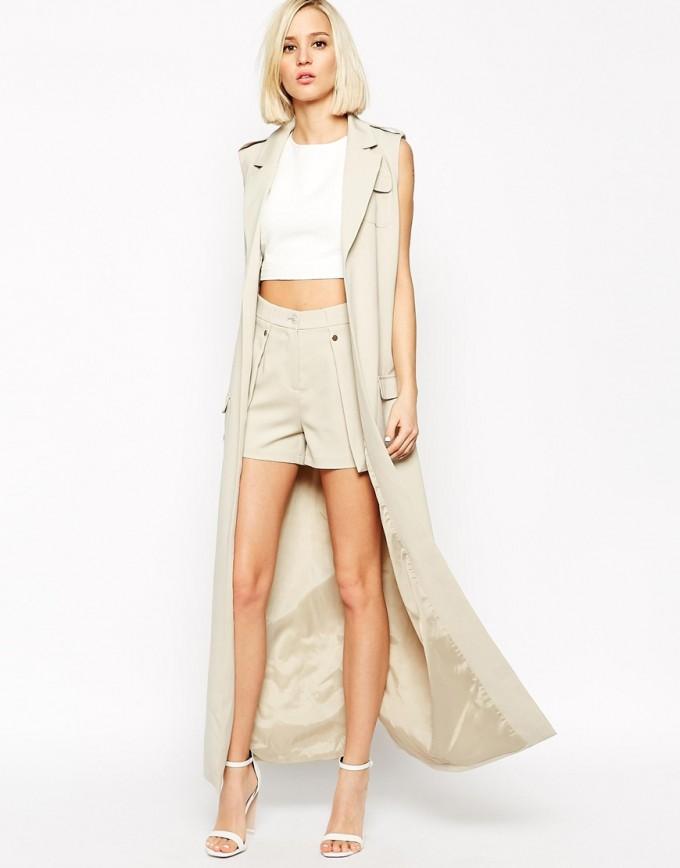 Sleeveless Trench Coat | Cream Trench Coat Womens | White Duster Jacket