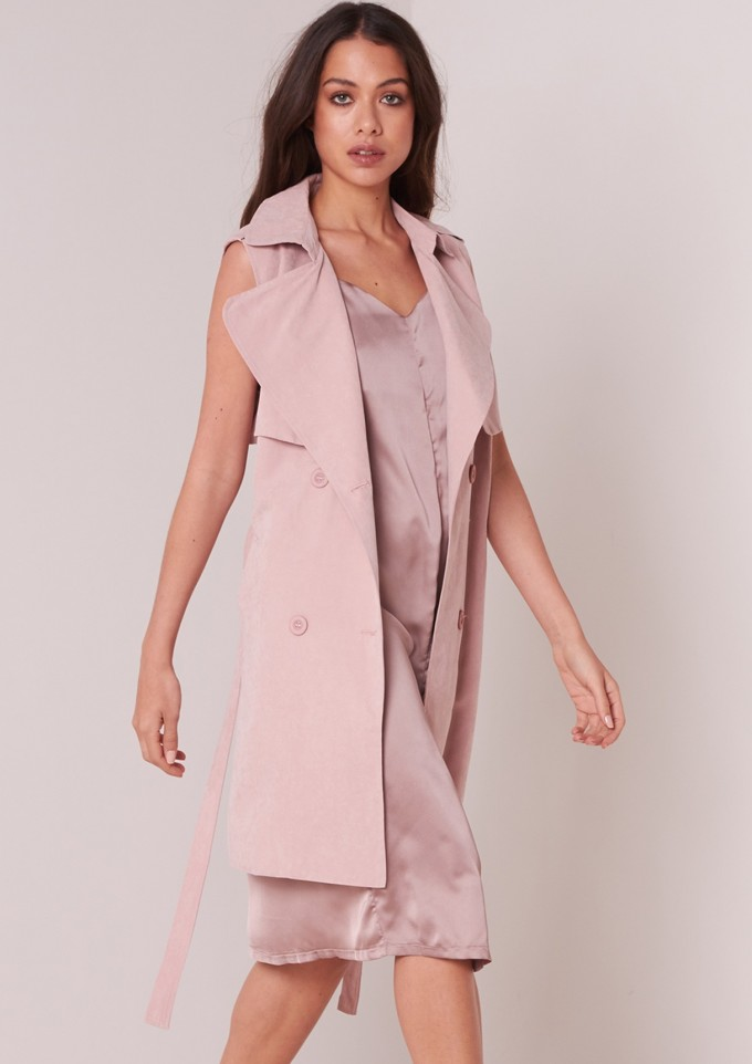 Sleeveless Trench Coat | Drape Coat Womens | Olive Trench