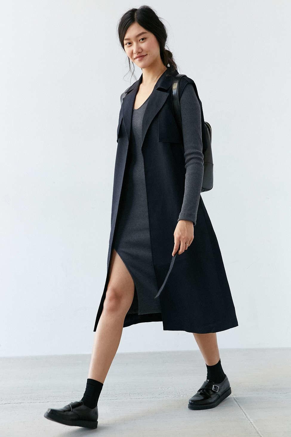 Sleeveless Trench Coat | Long Purple Trench Coat | Womens Trench Rain Coat