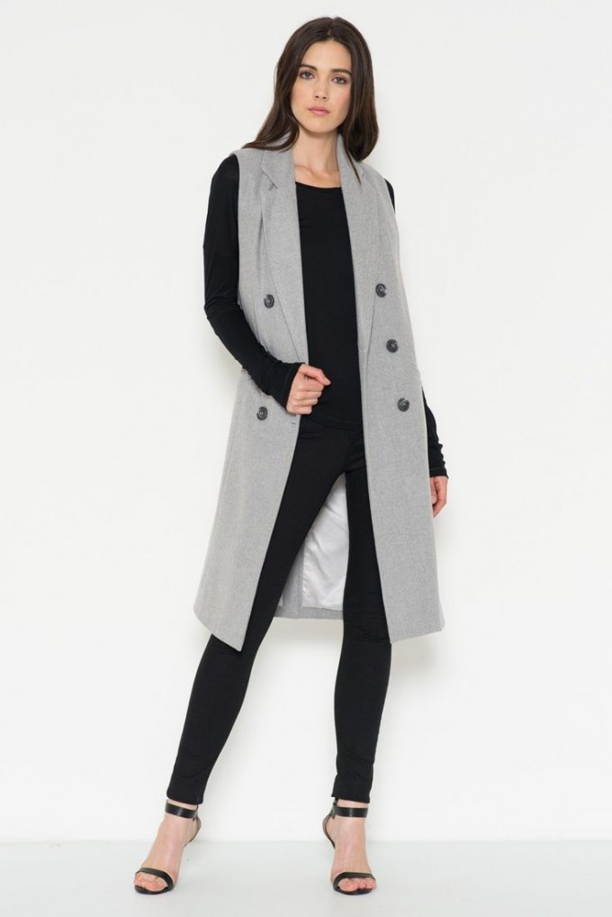 Sleeveless Trench Coat | Womens Waterfall Blazer | Duster Style Raincoat