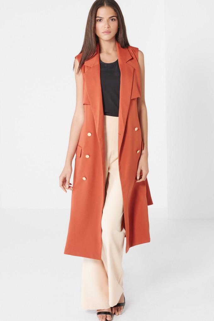 Tan Trench Coat For Women | Sleeveless Trench Coat | Sleeveless Trench Vest