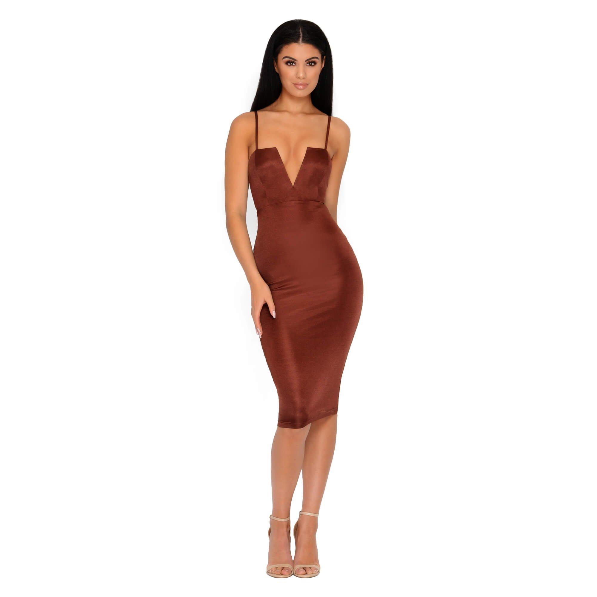 V Neck Halter Dress | Plunge Gown | Plunging Neckline Dress