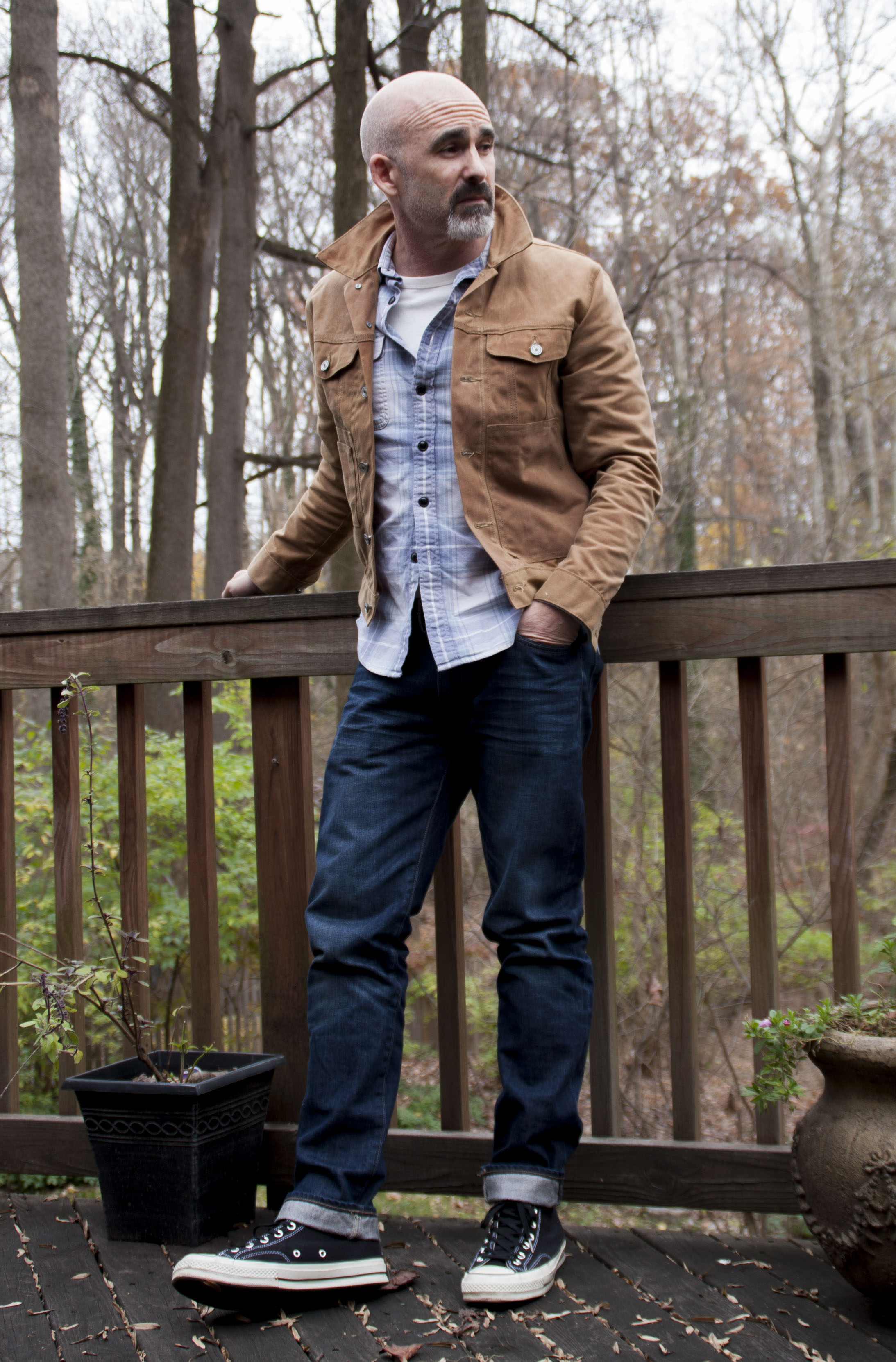 Waxed Trucker Jacket | Mens Canvas Coats | Canvas Overcoat