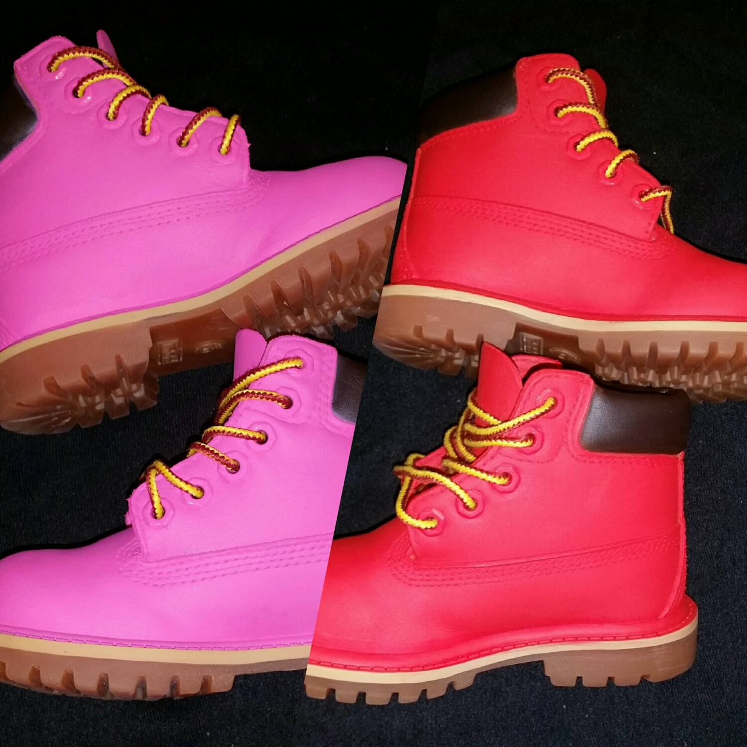 White and Gold Timberland Boots | Pink and White Timberlands | Colored Timberlands