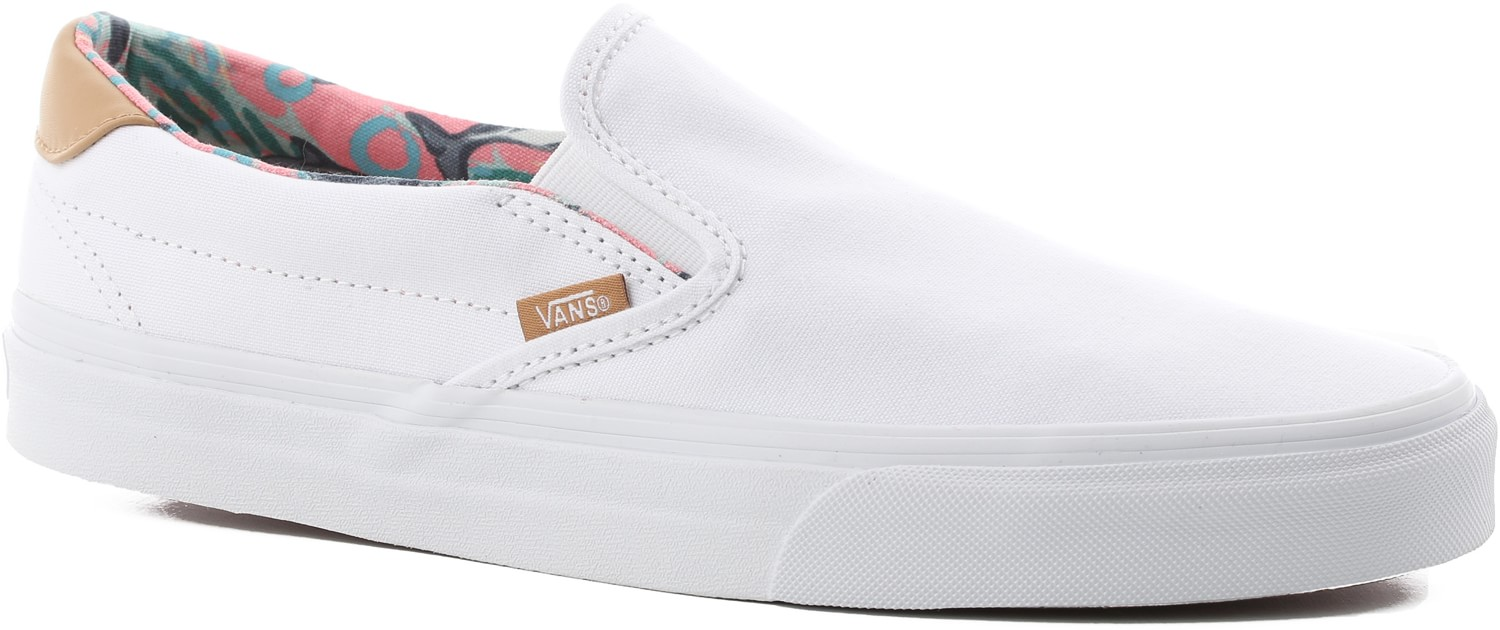 White Van Slip Ons | Vans Slip on Womens | Flamingo Vans Shoes