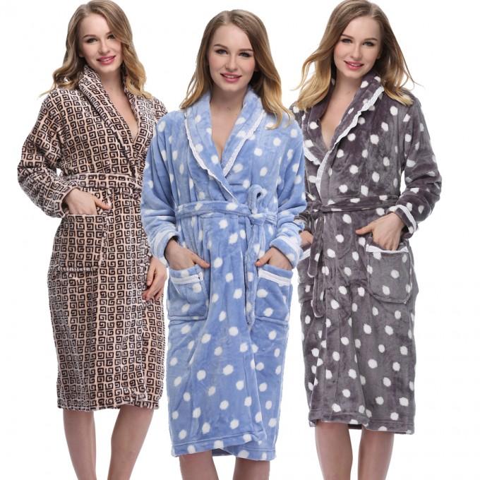 Womens Long Bathrobes | Womens Flannel Robe | Plush Bathrobes